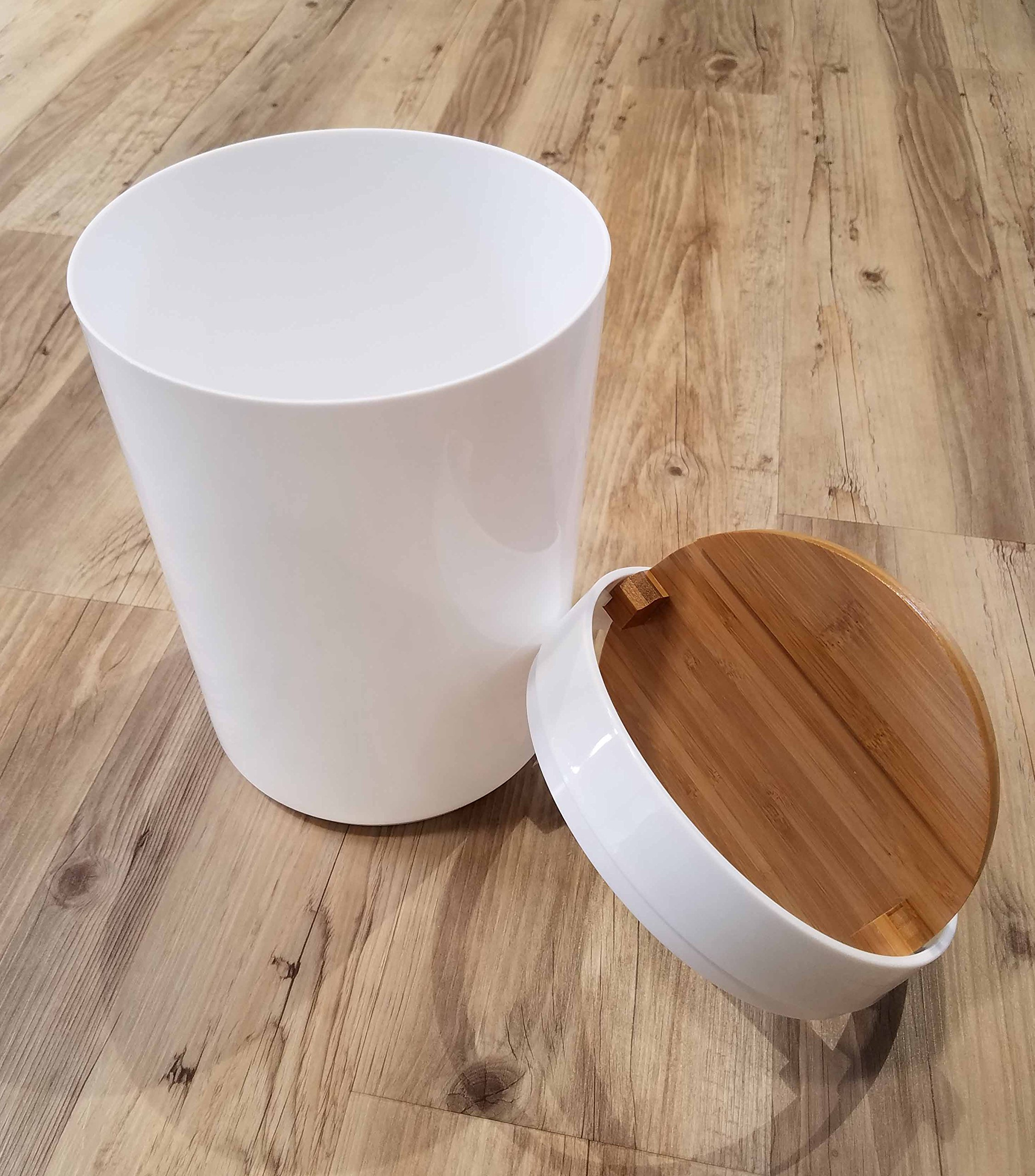 EVIDECO Round Bathroom Floor Trash Can Padang, White/Brown by EVIDECO (Image #5)