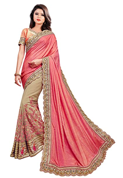 337142ff050d10 Arohi Designer Women s Silk   Georgette Net Embroidered Saree with Blouse  Piece (Pink and Beige