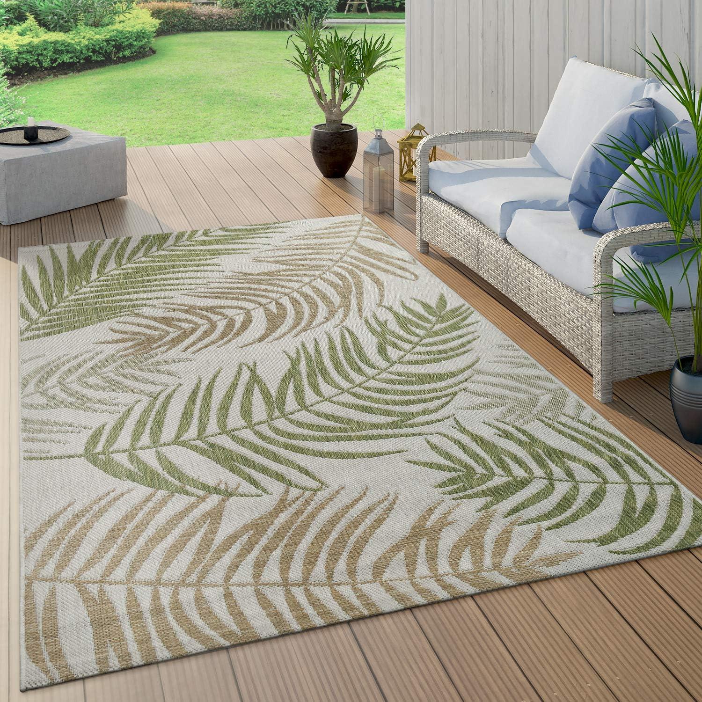 Paco Home Tappeto per Interni ed Esterni dal Tessuto Piatto nel Moderno Design con Palme e Giungla in Verde Pastello Dimensione:60x100 cm