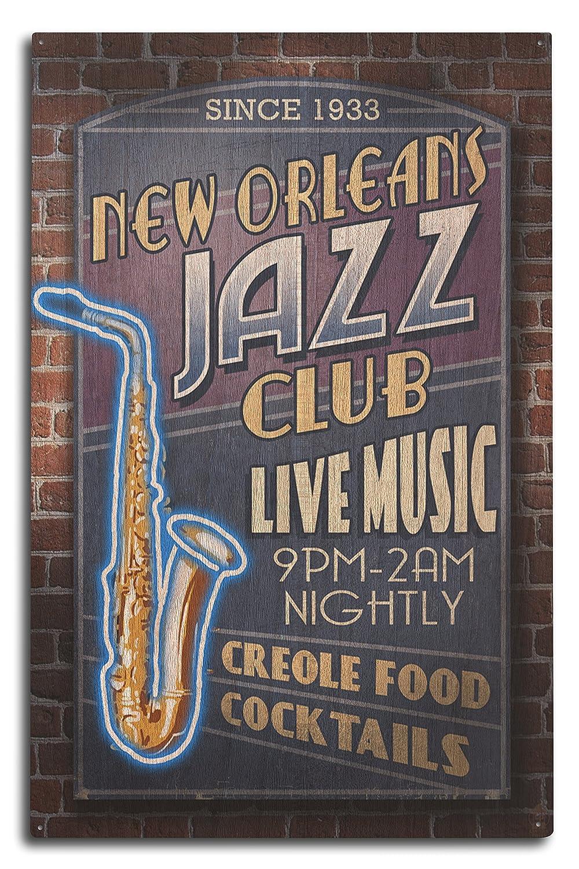 Lantern Press Orleans, Louisiana - Jazz Club (10x15 Wood Wall Sign, Wall Decor Ready to Hang)