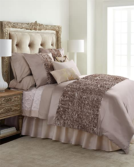 6 Piece Extra Large Silver Grey Duvet Cover Set With 3D Multilayer Ruffles  Decor,