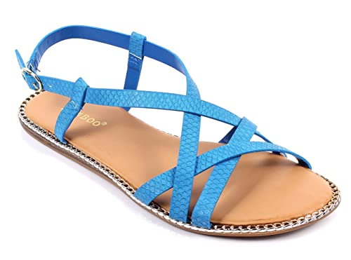 bec0e05f5 BAMBOO Fashion T-Strap Chain Casual Thong Buckle Strappy Womens Gladiator  Sandals Shoes New Without