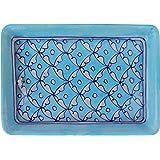 Aditya Blue Art Pottery Ceramic Serving Tray, Service for 2, Sky Blue