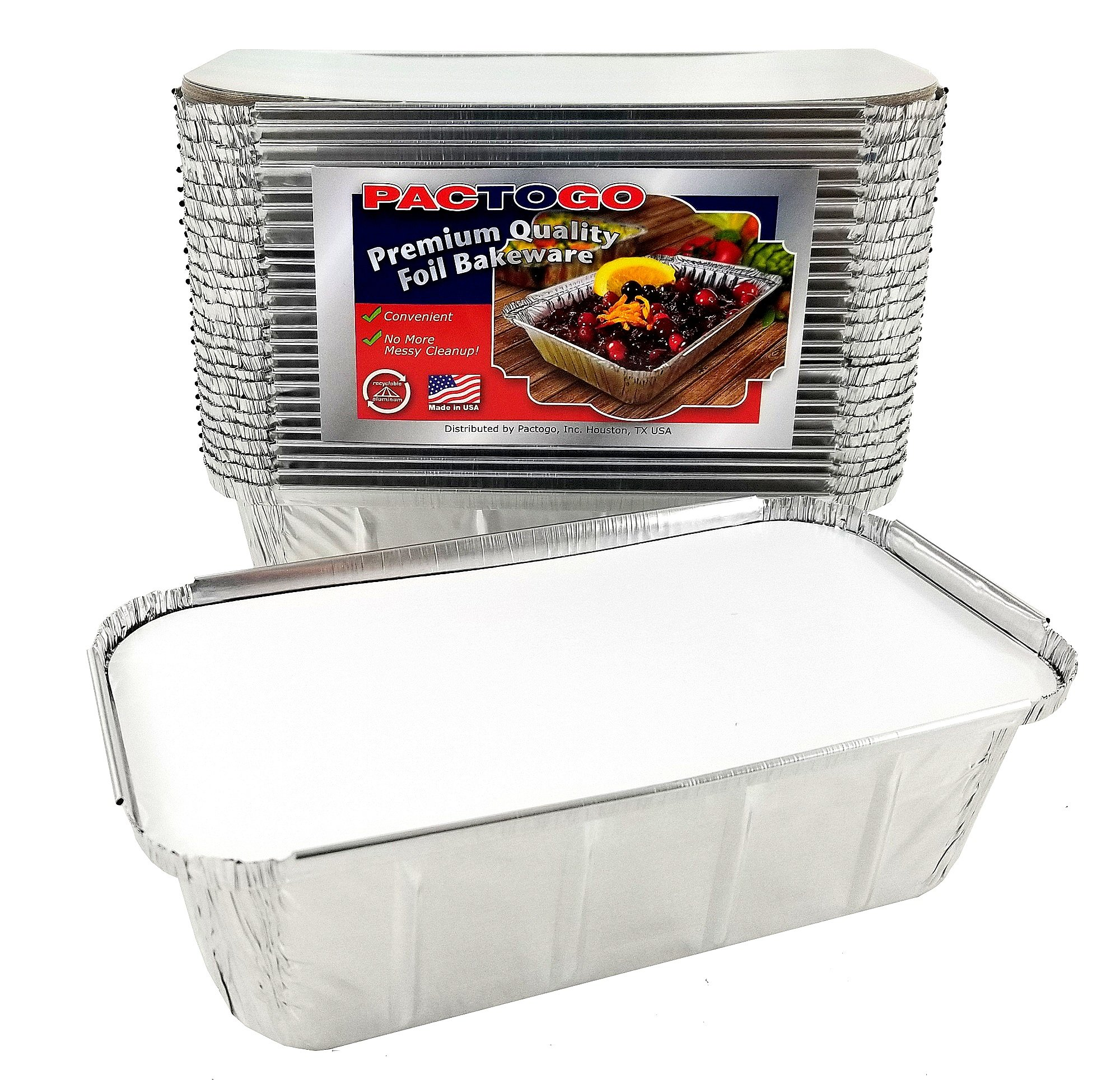 Pactogo 1 1/2 lb. IVC Disposable Aluminum Foil Loaf Bread Pan w/Board Lid (8'' x 4.1'' x 2.2'') - Heavy Duty Made in USA (Pack of 25 Sets)