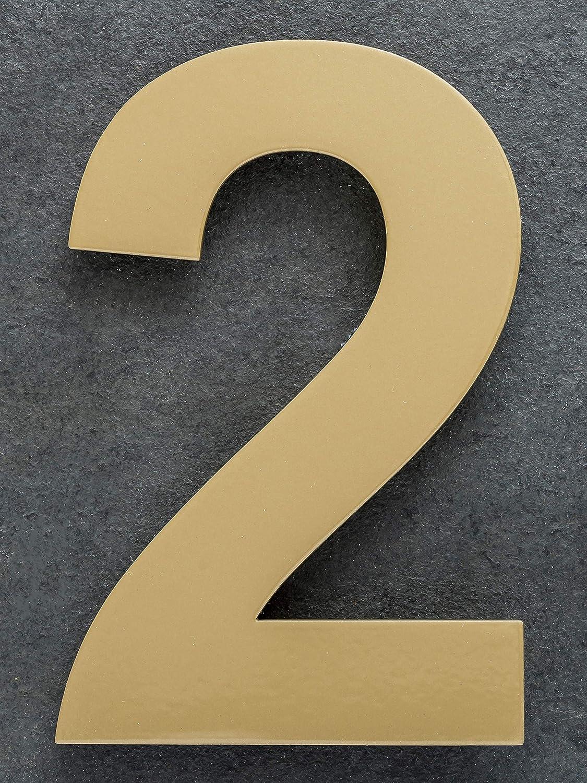 15cm Hausnummer 0 aus Edelstahl Large Messing Gold farbe pulverbeschichtet Rostfrei Hausnummernschild XAPTOVi Design Nummer 0 bis 9 1