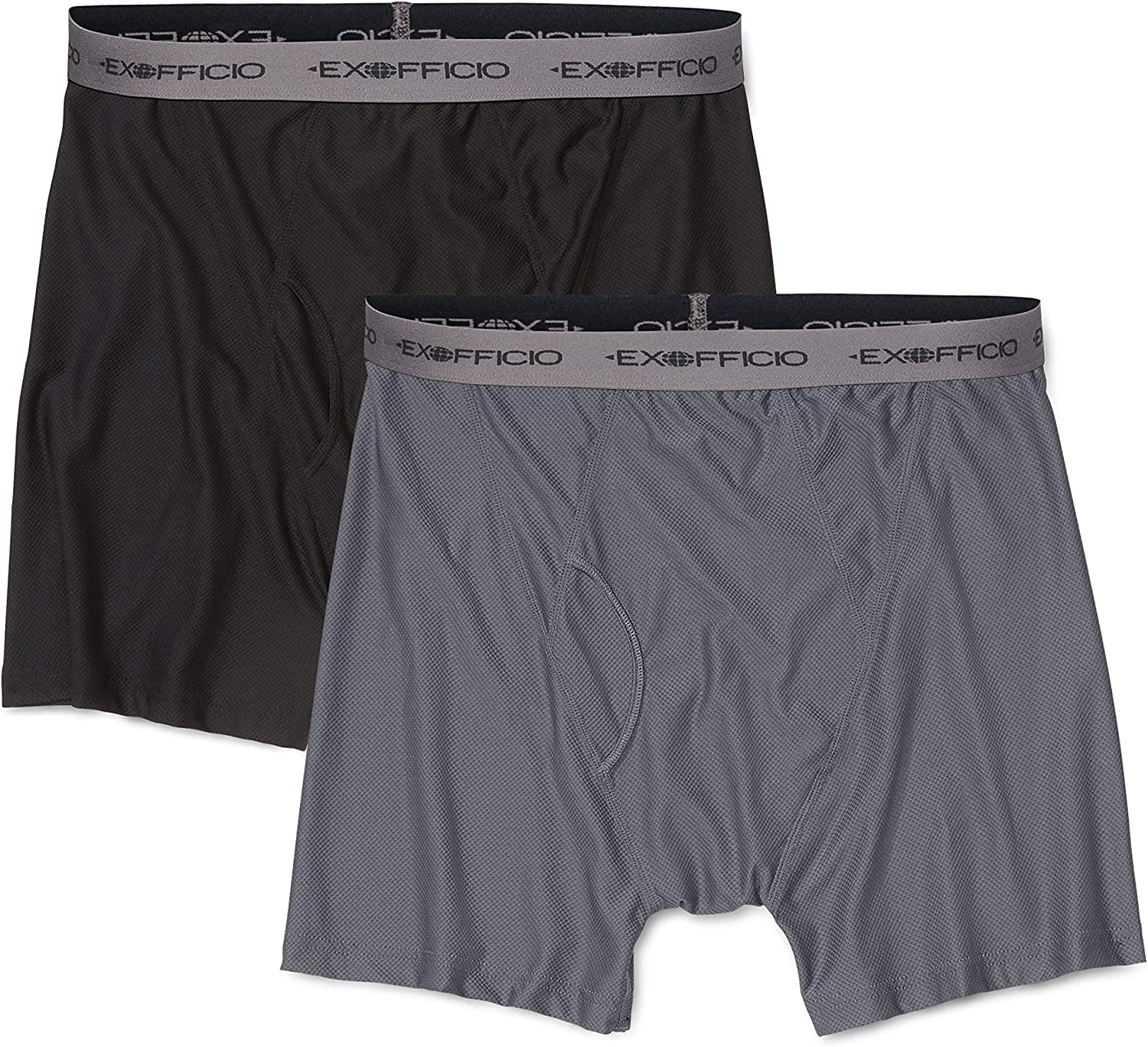 ExOfficio Men's Give-n-go Boxer Brief,Granite/Black,2 Pack - Medium