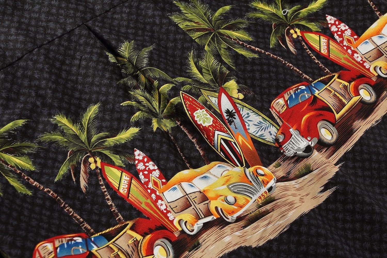 Hombres Aloha camisa hawaiana en Coches antiguos Palmeras Tablas de surf en Negro: Amazon.es: Ropa y accesorios