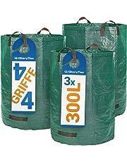 Glorytec Saco de jardín–300litros de Capacidad–3Unidades en Set–Bolsas de Basura de jardín Hojas y Saco Extra Resistente–Plegable–selbststehender Big Bag–Premium Calidad