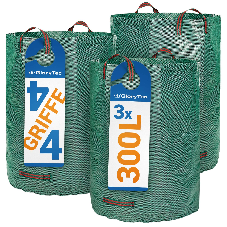 Glorytec Saco de jardín – 300 litros de Capacidad – 3 Unidades en Set – Bolsas de Basura de jardín Hojas y Saco Extra Resistente – Plegable – ...
