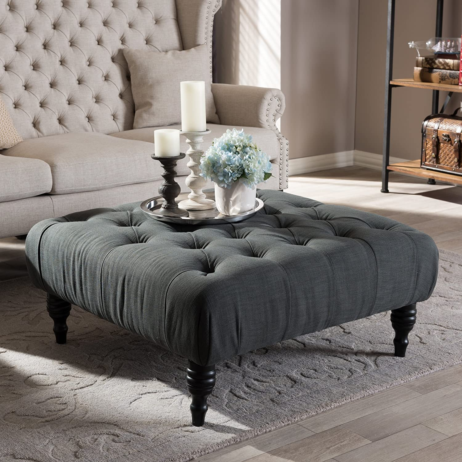 Amazon baxton studio keswick linen modern tufted ottoman amazon baxton studio keswick linen modern tufted ottoman dark gray kitchen dining geotapseo Images