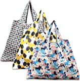Reusable Shopping Bags, Eco Friendly Foldable Grocery Bags Large Heavy Duty Washable Tote Bags, 3 Pack (Dog, Cat, Owl)