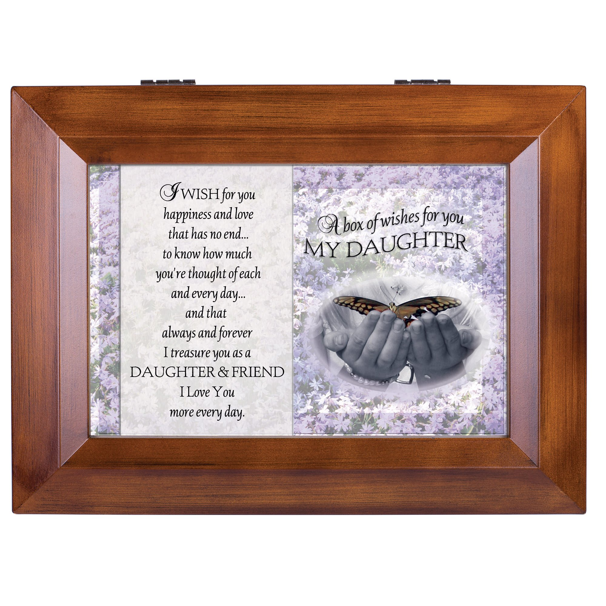 Cottage Garden My Daughter Dark Wood Finish Jewelry Music Box - Plays Tune You Are My Sunshine by Cottage Garden (Image #3)