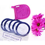 Just Add Water! Microfiber Makeup Remover Pad (5 pack) + Bonus Bamboo Exfoliator Mitten for Face, Reusable, Oil Free, Chemical Free, Hypoallergenic, Travel Size