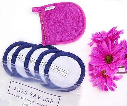 Miss Savage elimina el maquillaje con agua como mágica. Paquete de 5 almohadillas reutilizables de microfibra ...