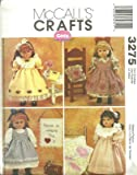 McCall's Patterns M3275 18-Inch Doll Clothes and Craft Projects, One Size Only