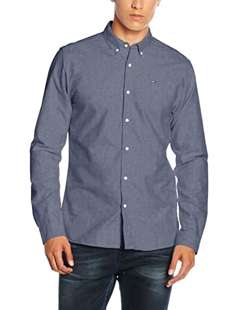 TJM Original Stretch Shirt, Camisa para Hombre, Azul (Black Iris 002), Small Tommy Jeans