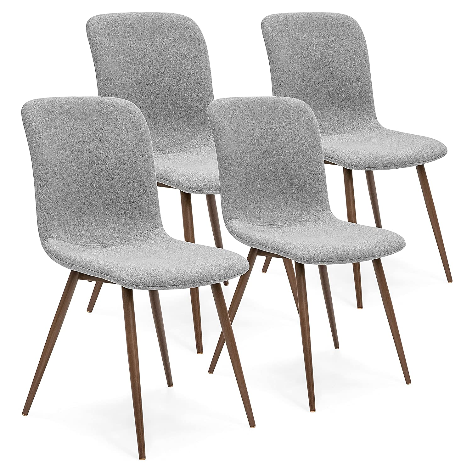 Amazon com best choice products set of 4 mid century modern dining room chairs w fabric upholstery and metal legs gray chairs
