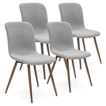 Best Choice Products Set Of 4 Mid Century Modern Dining Room Chairs W/Fabric