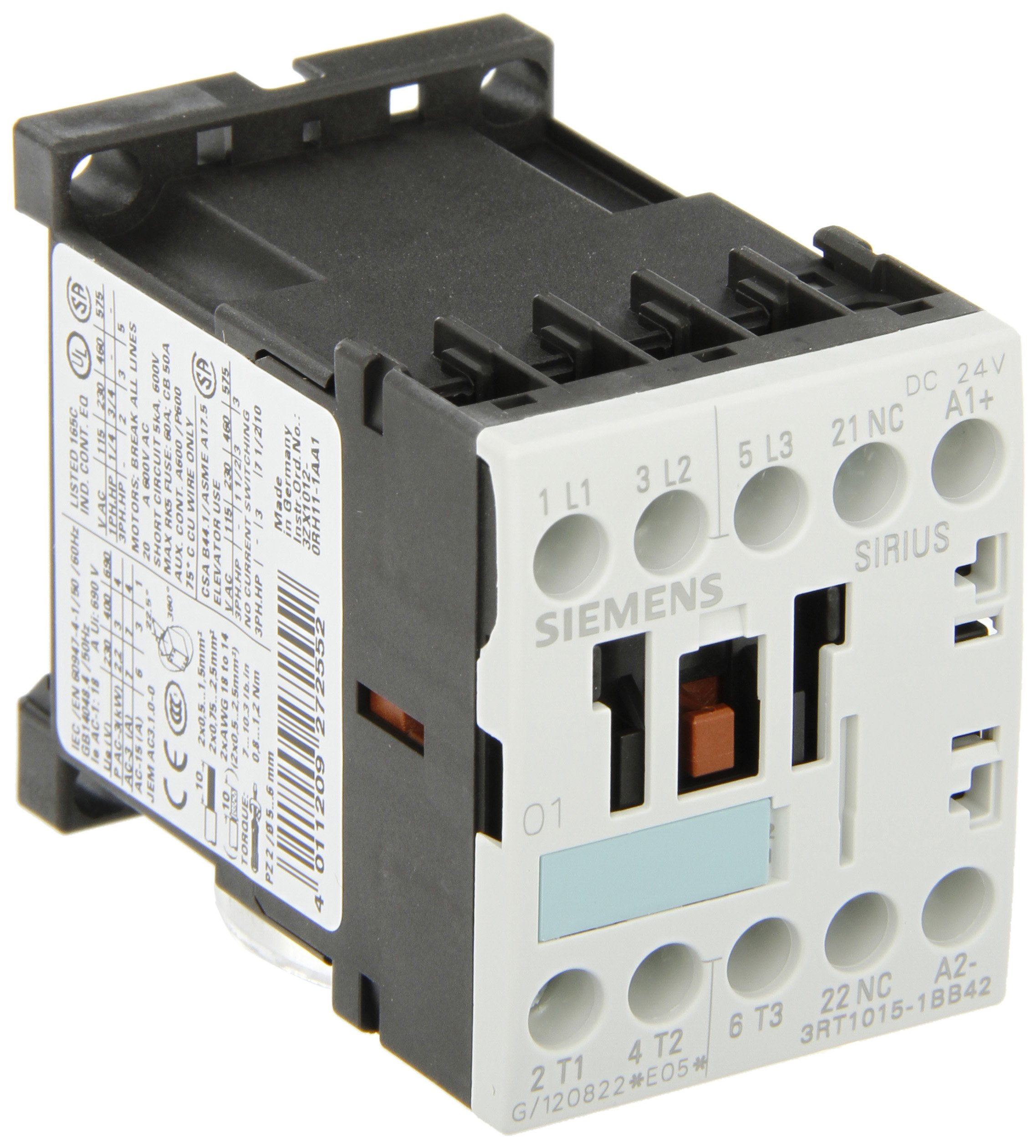 Siemens 3RT10 15-1BB42 Motor Contactor, 3 Poles, Screw Terminals, S00 Frame Size, 1 NC Auxiliary Contact, 24V DC Coil Voltage