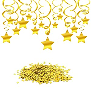 Konsait Hanging Swirl Gold Decorations(30 Counts) Gold Star Table Confetti(15 Gram), Gold Hanging Party Supplies for Wedding Shower Birthday Party Table Decor Twinkle Twinkle Little Star Baby Shower