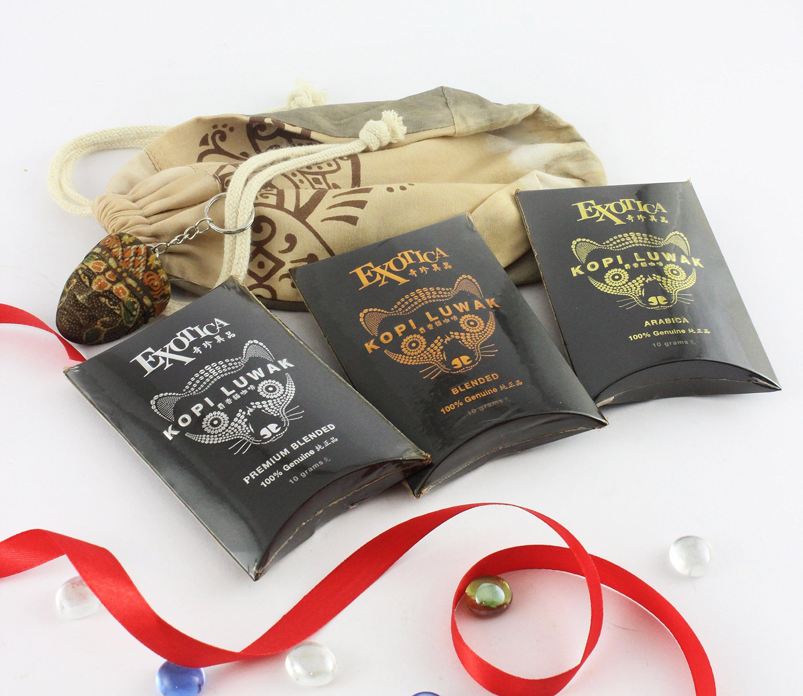 Exotica Kopi Luwak Samplers Gift Set in Natural Dyed Pouch [FREE Expedited Shipping]