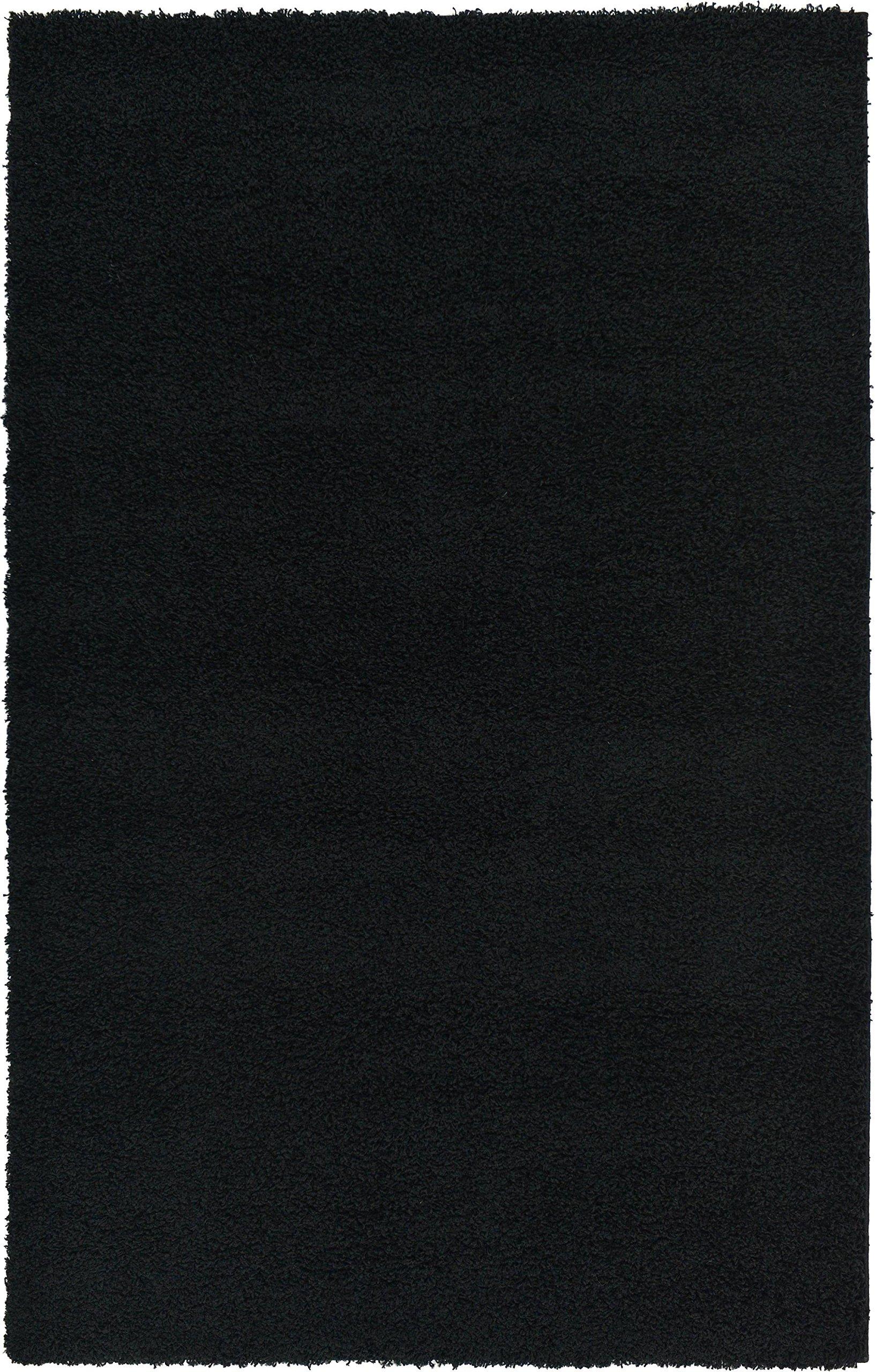 Unique Loom Solo Solid Shag Collection Modern Plush Jet Black Rectangle (5' x 8') by Unique Loom (Image #11)