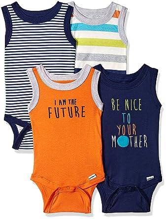 df9b9cba5 Gerber Baby Boys 4-Pack Sleeveless Onesies Bodysuit, Stripes, Newborn