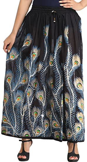 3503efadb Exotic India Long Skirt with Printed Peacock Feather and Embroidered  Sequins - Color Caviar BlackGarment Size