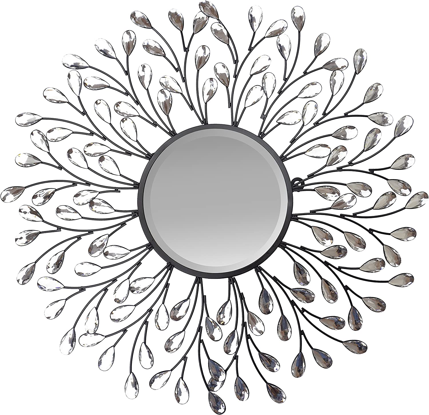 "Lulu Decor, Decorative Crystal Metal Vine Wall Mirror, Beveled Mirror, Frame Measures 24"", Mirror Measures 11"", Perfect for Housewarming Gift (L72MC)"