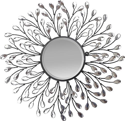 Lulu Decor, Decorative Crystal Metal Vine Wall Mirror, Beveled Mirror, Frame Measures 24 , Mirror Measures 11 , Perfect for Housewarming Gift L72MC