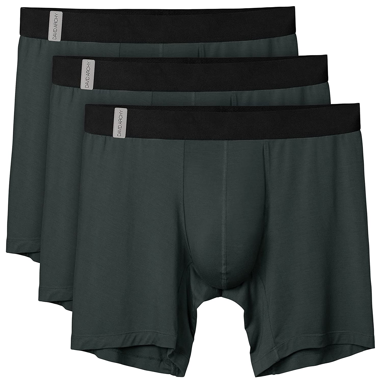 David Archy Men's 3 Pack Soft Breathable Bamboo Rayon Boxer Briefs CN-Smashing