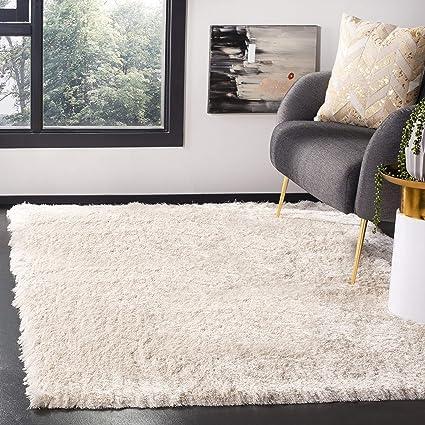 029c6e981da5fa Amazon.com: Safavieh Paris Shag Collection SG511-1212 Ivory Polyester Area  Rug (5' x 7'): Kitchen & Dining