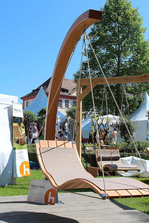 Hängeliege Längslattung aus Holz, für den Garten und Innenbereich, Saunaliege, Sonnenliege, Relaxliege, Gartenliege, Schwebeliege