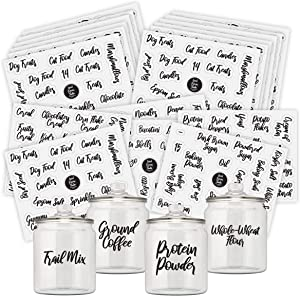 Good Karma Studio 240 Pantry Labels + 15 Blank Labels for Plastic Containers and Glass Containers in Calligraphy Font, Clear, Water-Resistant Kitchen Labels, Canister Labels & Home Organization Labels