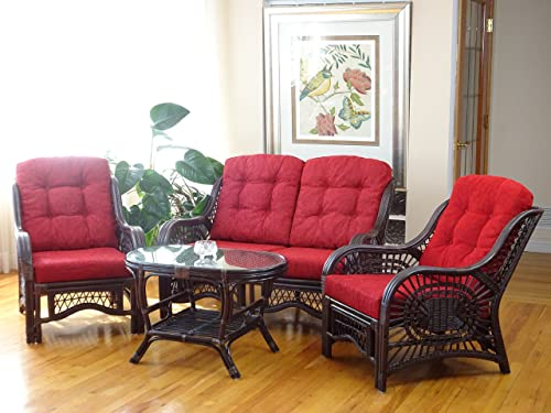 Malibu Rattan Wicker Living Room Set 4 Pieces 2 Lounge Chair Loveseat sofa Coffee Table Dark Brown Red Cushions