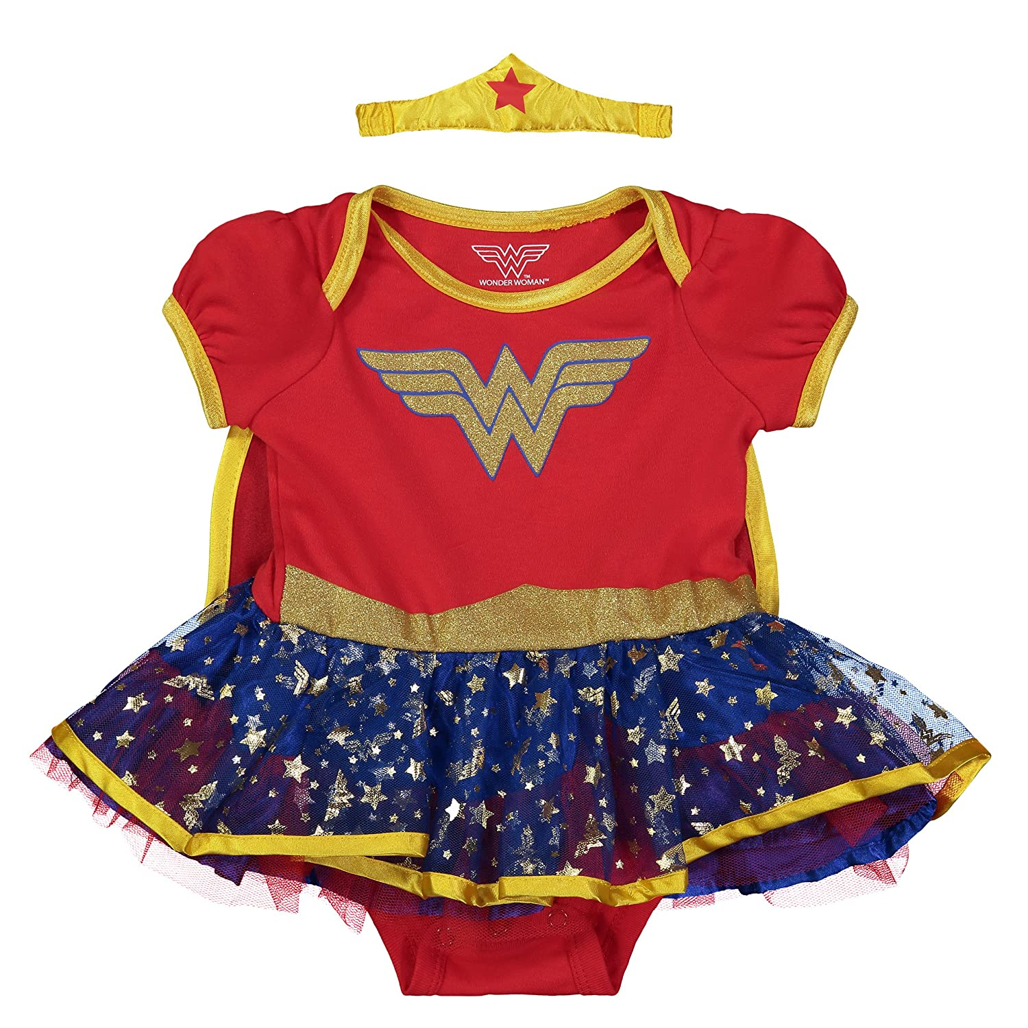 ab94490d1 Dazzling gold glitter print Wonder Woman design with the WW logo and  utility belt 3 snap closure and lap shoulders for easy dressing