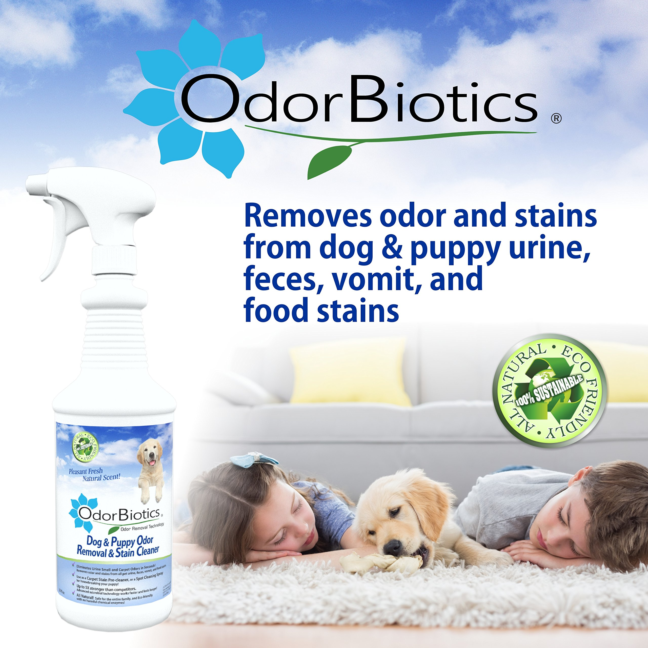 OdorBiotics Pet Stain & Odor Remover for Dog Beds, Playpens, Crates, Carriers, Kennels, Clothes, Puppy Toys, Eliminate Urine Smell on Carpet, Rugs, Hardwood Floors, Sofa Fabric, 128 oz Economy Size by OdorBiotics (Image #6)
