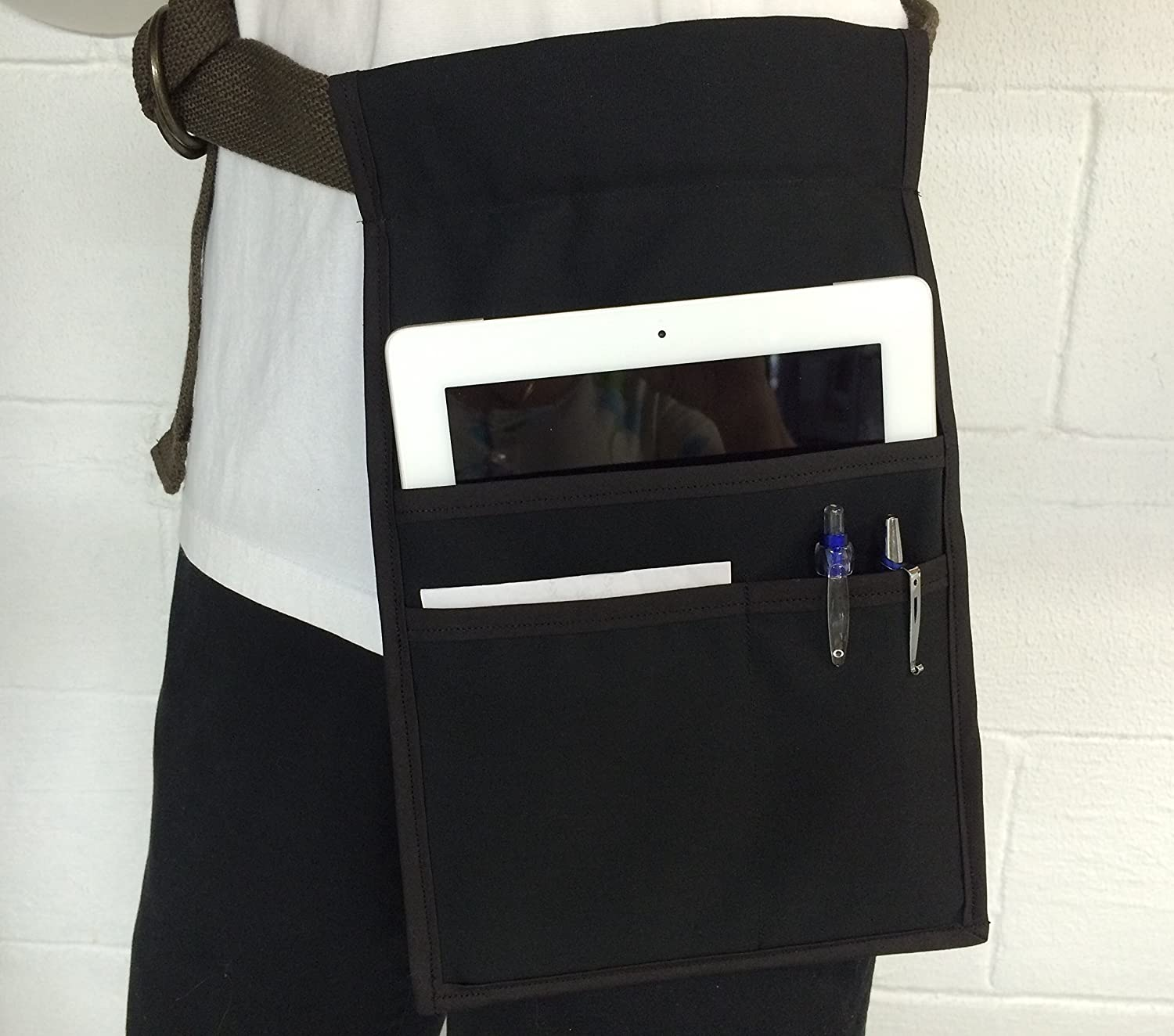 Black belt top ( I Pad ) Heavy Duty side apron money Pouch Waitress Pockets Restaurant Bars Cafes Handmade ( Janet's Aprons)