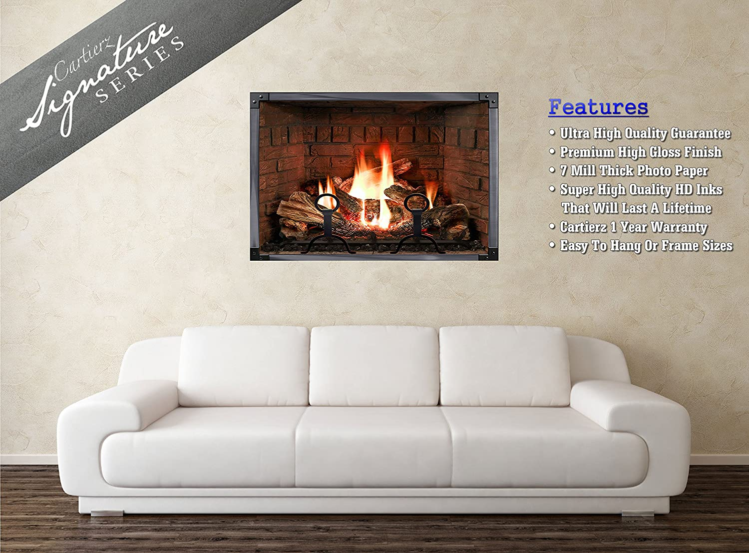 amazon com experience this incredible realistic fireplace poster