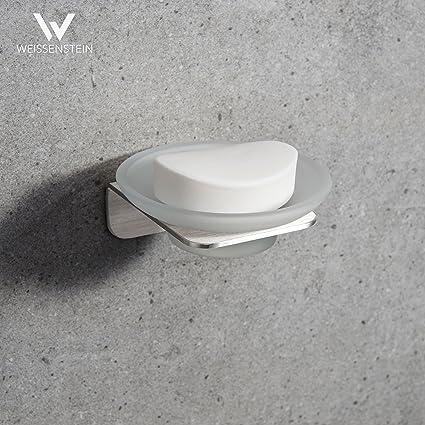 WEISSENSTEIN Jabonera de baño Pared Adhesiva   Soporte para jabón de Vidrio y Acero Inoxidable   Jabonera Redonda 11 x 11 x 11 cm
