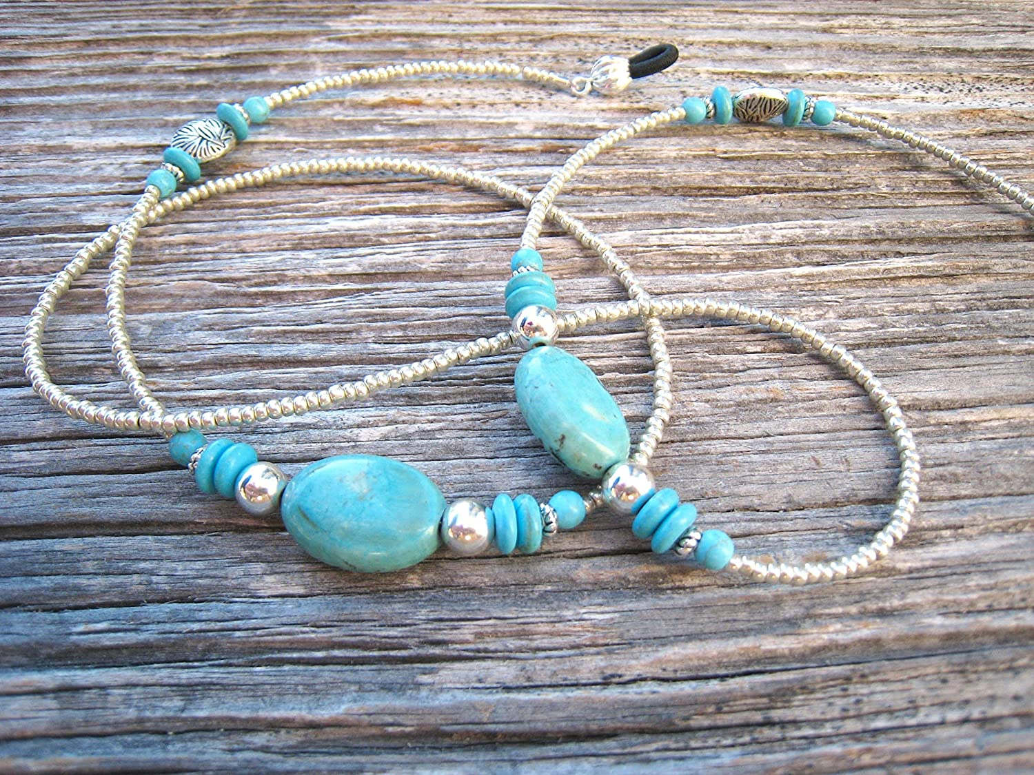 Silvertone Imitation-Turquoise Beaded Eyeglass Chain Handmade