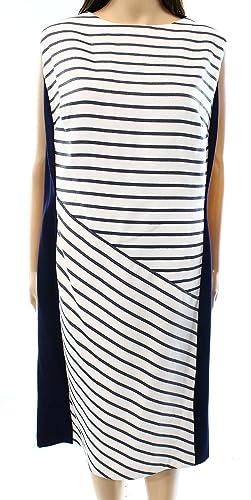 Lauren Ralph Lauren Blue Womens Plus Sheath Dress White 20W