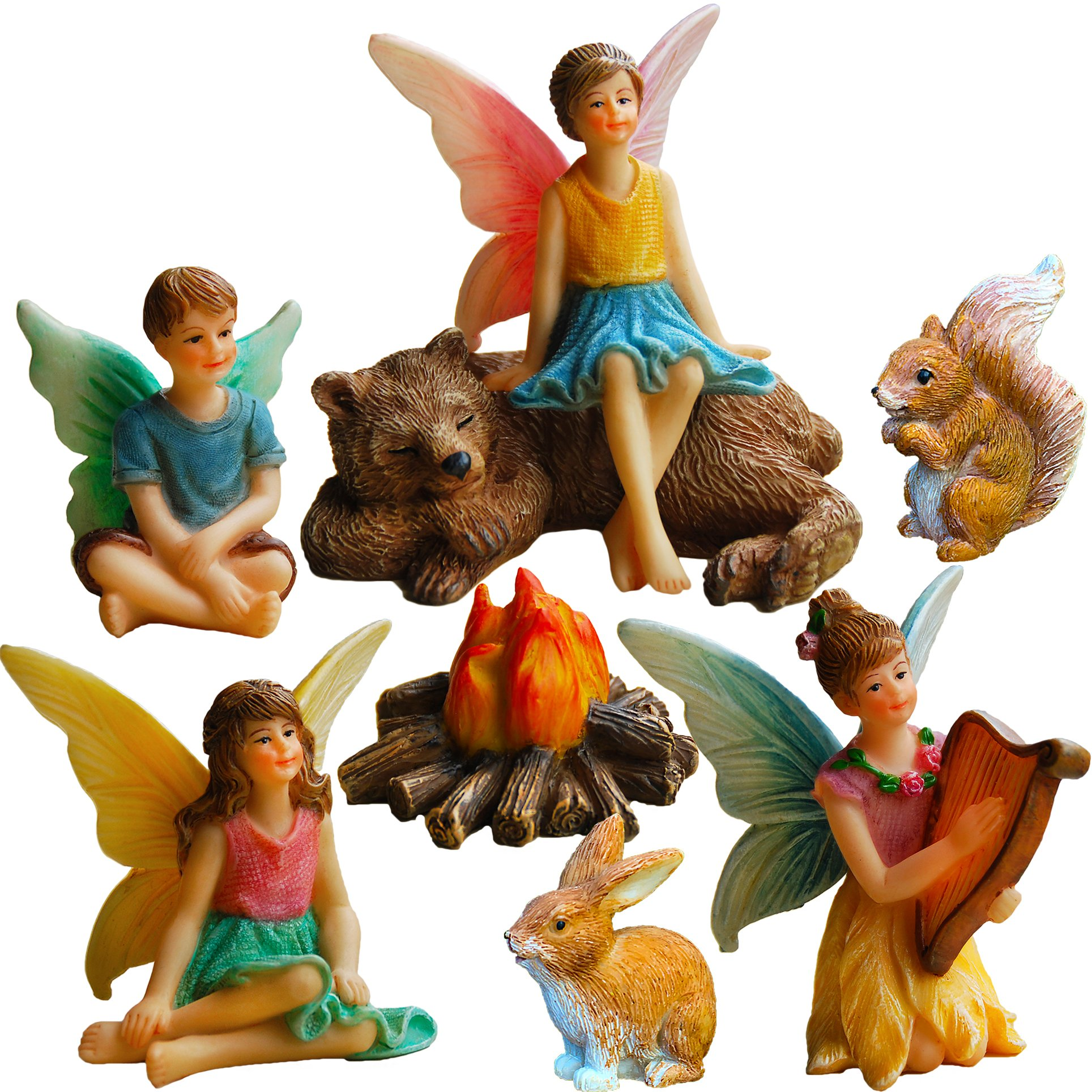Mood Lab Fairy Garden Fairies - Miniature Figurines Accessories - Camping Fun Set of 8 pcs - Hand Painted Kit Outdoor House Decor