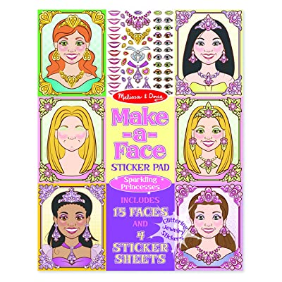 Melissa & Doug Make-a-Face Sticker Pad: Sparkling Princesses - 15 Faces, 4 Sticker Sheets: Melissa & Doug: Toys & Games