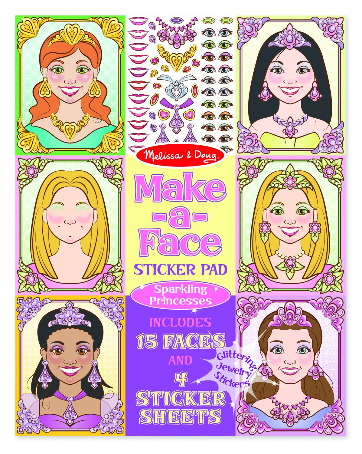 Melissa Doug Make a Face Sticker Pad Sparkling Princesses 15 Faces 4 Sticker Sheets