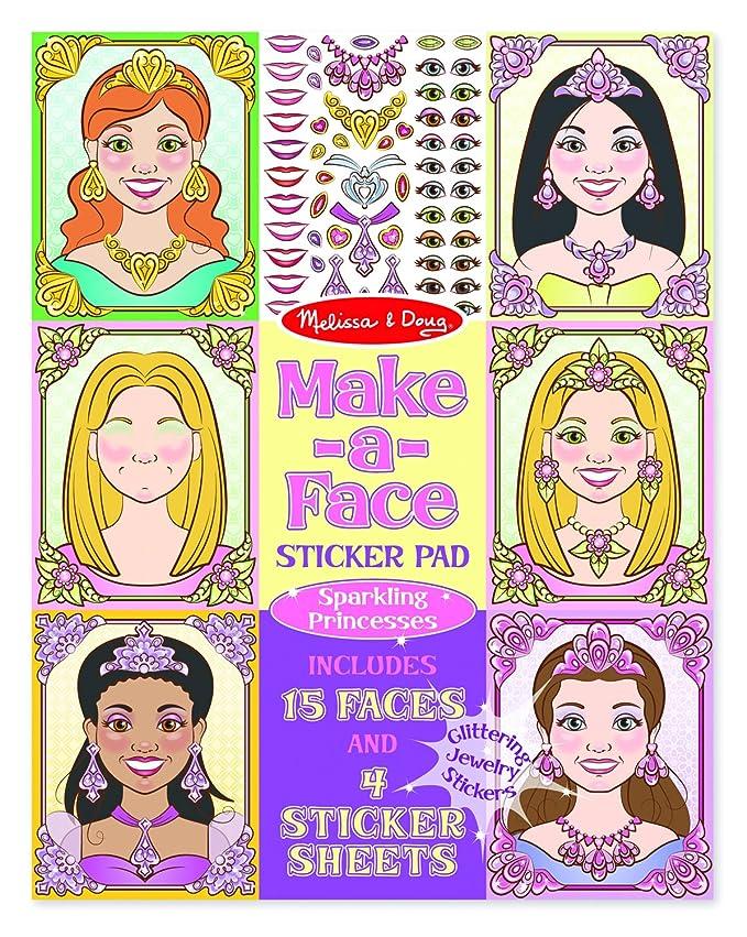 Melissa & Doug Make-a-Face Sticker Pad: Sparkling Princesses – 15 Faces, 4 Sticker Sheets $4.99