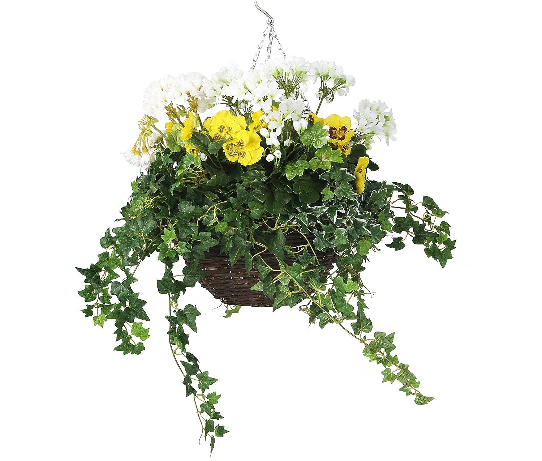 Closer To Nature Elite Outdoor Serie Künstliche hängekorbpflanze,–gelb und weiß Geranium/Ivy