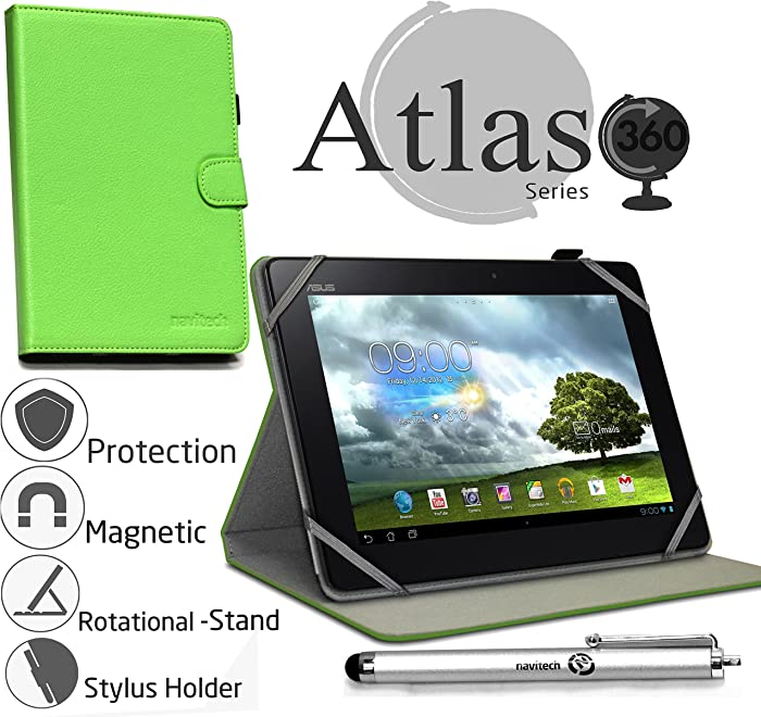 "Navitech 10"" Green Case/Cover with 360 Rotational Stand & Stylus Pen Compatible with The Acer Iconia Tab 10 A3-A20 / Hp Pailion 2 / Toshiba Encore 2 10"" / Lenovo Tab A10-70 / Medion Akoya E1233T"