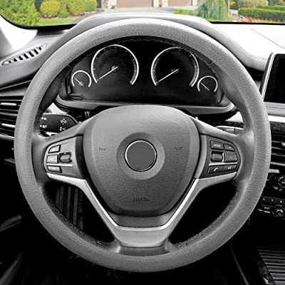 FH Group FH3001GRAY Gray Steering Wheel Cover (Silicone Snake Pattern Massaging grip in Color-Fit Most Car Truck Suv or Van): Automotive