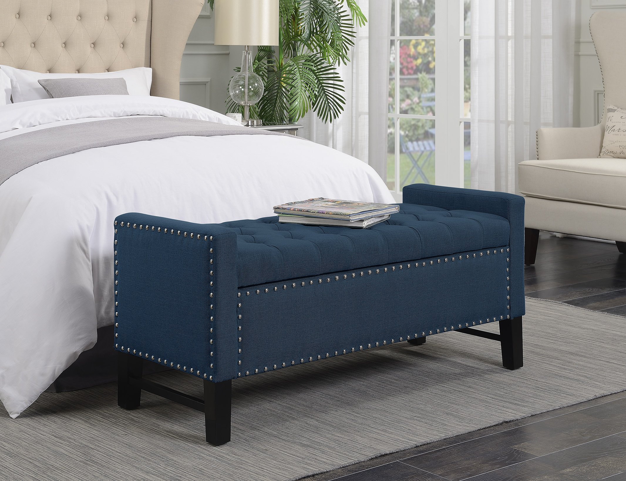 Iconic Home Lance Linen Modern Contemporary Button Tufted with Silver Nailheads Deco on Frame Storage Lid can stop at any position Bench, Teal